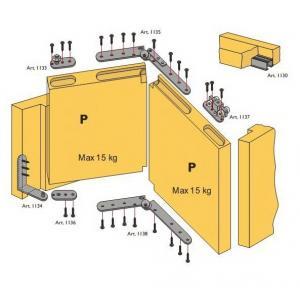 Beltéri ajtóvasalat szett harmonika ajtóhoz 2 ajtóra 15kg/szárny DT310 Terno bútoripari kellék magas minőségben (1db)