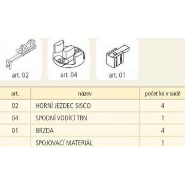 Sisco tolóajtó vasalat szett függeszett üvegajtóhoz 2 ajtószárnyra 15kg 87647 Sisco kiemelt gyártási minőségű szerelvény (1db)
